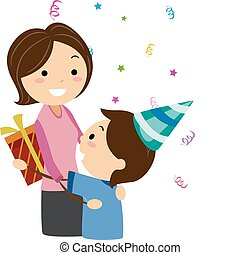 Mother's Day - Illustration of a Boy Handing His Mother a...