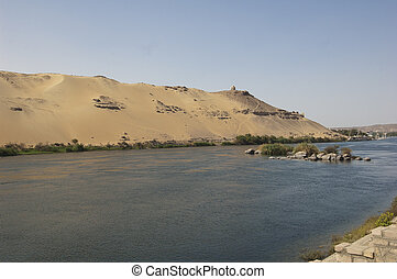View down the River Nile with cataracts - View of the River...