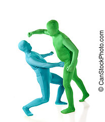 Morph Fight - A green morph and blue morph man in a fist...