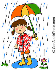 Little girl with umbrella cartoon - Large childlike cartoon...