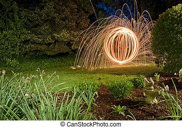 Steel Wool Sparks in the garden - Spinning lit steel wool...