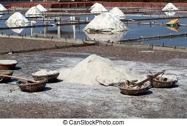 Sea Salt Paddies - Salt paddies with piles of salt and tools...