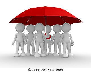 grupo, gente, debajo, paraguas