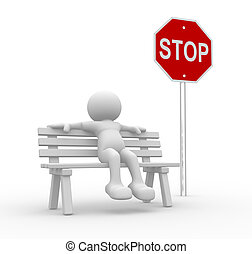 Bench - 3d people- human character sitting on the bench-...