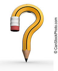 Pencil question mark on white background- This is a 3d...