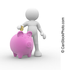 Piggy bank - 3d people-human character with piggy bank and...