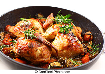 Roasted chicken with vegetable - Tasty roasted chicken with...