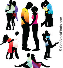 Set of happy love couple silhouettes