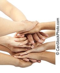 group of young people's hands together