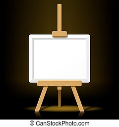 Wooden easel with blank canvas - Detailed vector...