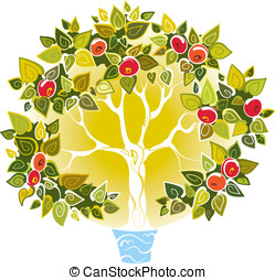 Fruitful apple tree and water as a symbol of relationship...