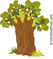 Oak tree on white background. No gradients. Various...