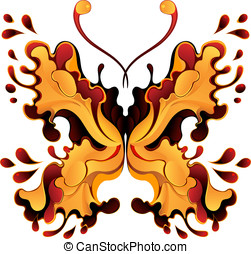 Yellow-red butterfly-blot