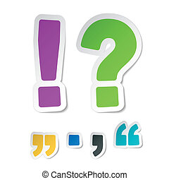 Exclamation, question mark stickers - Vector illustration of...