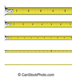 Tape measure in inches - Vector illustration of a tape...