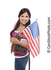 Hispanic teenager with American national flag