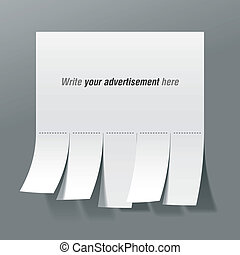 Blank advertisement with cut slips - Vector illustration of...