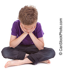sad boy with drooping head white background