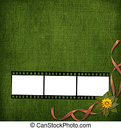 Filmstrip with bunch of flowers on the abstract background