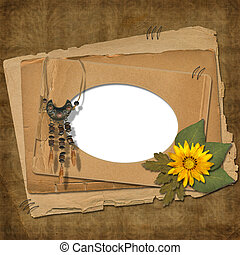Grunge papers design in scrapbooking style with bunch of flowers