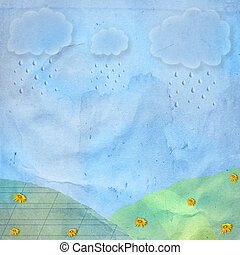 Card for greeting or congratulation with rain and clouds