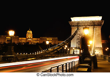 chain bridge in Budapest, Hungary - view of chain bridge in...