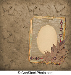 Grunge frame for old portrait or picture with hearts and...