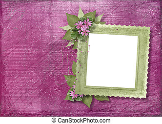 Pink abstract background with frame and floral beautiful...