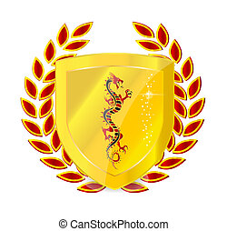 heraldic gold emblem sign isolated