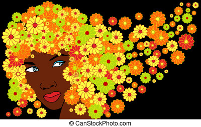 cute african girl with floral hairs - vector cute african...