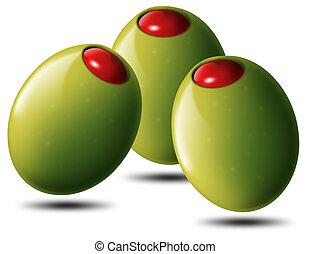 Olive ripiene - Illustrazione con 3 olive verdi ripiene con...
