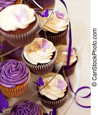 Wedding Cake -Closeup on Beautiful Yummy Cupcakes - Wedding...
