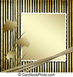 Postcard invitation with brown carnation to the striped background