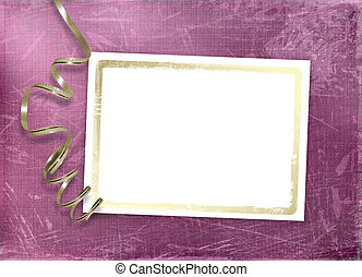 Postcard for invitation with gold frame and streamer