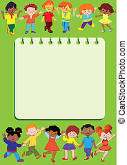 Children frame. - Happy children. Children frame. Place for...