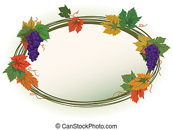 vine - autumnal vector frame with grapes