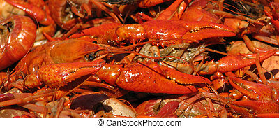 Closeup of a crawfish and crawfish claws.