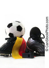 Soccer World Cup 2010 - Soccer shoes with flag, leather ball...