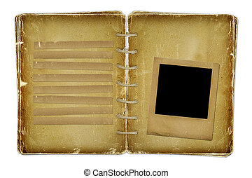 Old photoalbum and grunge slide with space for text
