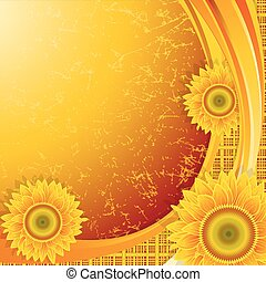 Background with sunflowers - Orange background with a wave...
