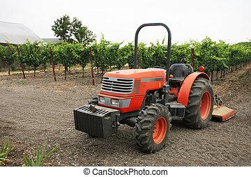 Tractor in vineyard