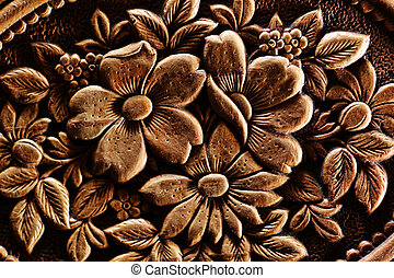 Vintage flowers relief texture background Extreme macro...