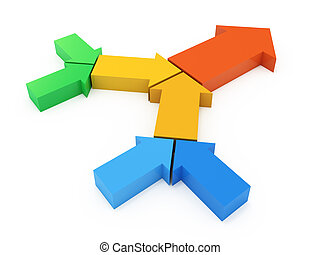 Process chain from colorful arrows. 3d concept illustration