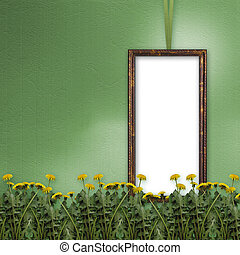 Green abstract background with frame and flowers of...