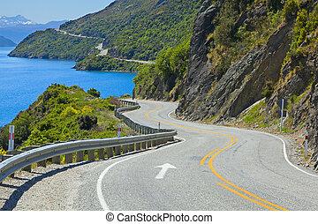 Road along the lake - View of lake Wakatipu along the...