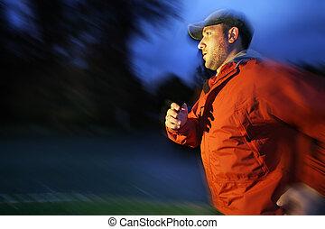 Man running at twilight