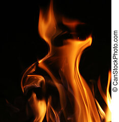 Fire flames background texture - Fire flames over black...