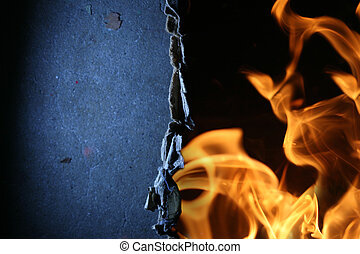 Torn paper over fire flames abstract background