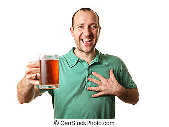 Beer lover - Happy man with glass of beer, isolated on white...