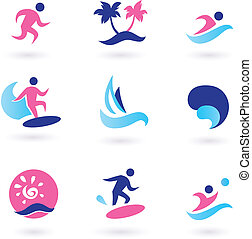 Water sport, vacation and exotic icons - pink and blue -...
